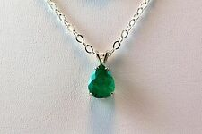 2.1 Ct Pear Shape Colombian Emerald Sterling Silver Pendant with Chain