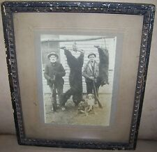 c1900 ANTIQUE VICTORIAN MEN BEAR CUB HUNTING CABINET PHOTO DOG WINCHESTER RIFLE