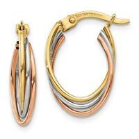 14k Tri Color Yellow White Gold Twisted Hoop Earrings Ear Hoops Set Oval Fine