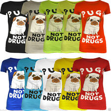 Womens Ladies Pugs Not Drugs Print Short Cap Sleeve T-Shirt Top Stretch