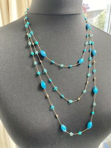 Long antique brass tone triple layer chain blue/teal beaded necklace - N038