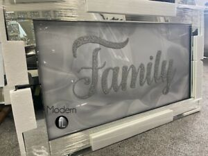 Family sparkle glitz mirrored picture, glitter art wall picture mirror frame