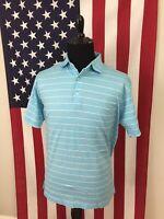 Peter Millar Aqua Blue Striped Polo Shirt men's MEDIUM cotton golf summer 19112