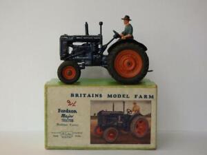 Britains Vintage 1948 en Caja Cable #128F Fordson Mayor Farm Tractor Goma Tyres