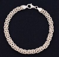 "7.25"" Italian Diamond Cut Byzantine Link Bracelet Sterling Silver 925 7mm"
