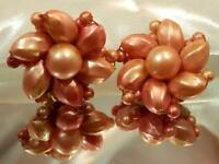 Vintage 50's Large Very Pretty Pink Mauve Lucite Flower Clip On Earrings 534jn9
