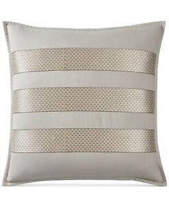 Hotel Collection Como Cotton Geometric Embroidered Pillow Sham - EURO - Taupe