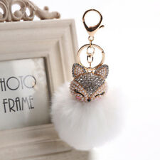 Charm Attractive Keyring Rhinestone Fox Fur Pearl Ball Key Chain Jewelry Fashion