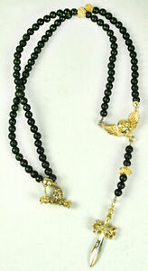King Baby Studio Rosary Vermeil Winged Skull Dagger *SHOWROOM SALE* K56-5054