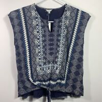 Lucky Brand Womens Blouse Blue White Tribal Sleeveless Notch Neck Plus 2X New