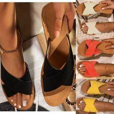 Womens Flat Slip On Summer Mules Sandals Sliders Comfortable Fashion Beach Size