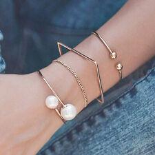 4Pcs/Set Pearl Chain Open Bracelet Bangle Bohemian Women Jewelry Wristband GiNM
