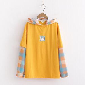 Kawaii Clothing Ropa Cute Hoodie Plaid Sweatshirt Ulzzang Pullover Coats