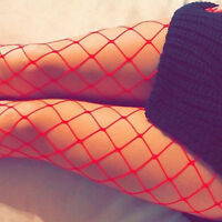 Sexy Womens Bandage Straps Fishnet Thigh High Sheer Lace Top Cocktail Stockings