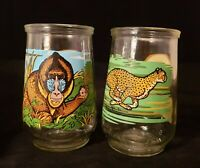 2 Welch's Endangered Species Collection Jelly Jars | Mandrill & Cheetah