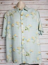 Tommy Bahama SS Button Up Shirt Hawaiian 90% Silk Sky Blue, Men's Size Large