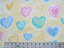 6.75 YARDS PRETTY PASTEL HEARTS ON YELLOW FOR CURTAINS DRAPES COTTON FABRIC 56 W