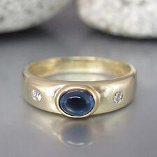 Ring Bandring mit ca. 0,04ct Brillant W-si und ca. 0,20ct Saphir in 14K Gelbgold
