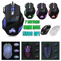 5500DPI LED RGB Optical USB Wired Gaming Mouse 7 Buttons Gamer Laptop PC Mice