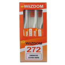 12PCS/box Wiizdom Adult Smoker Manual Toothbrush With Extra Hard Brown Bristles
