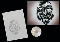Airbrush Schablone Step by Step / Stencil / Tiere / 183 Indianer mit Wölfen & CD