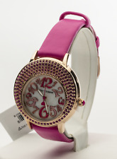 Betsey Johnson Women's Crystal Case Rose Gold Tone Watch BJ00664-02BX, New