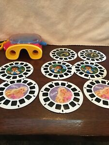 Portable ViewMaster 3-D Viewer Travel Size W 8 Discs Barbie Diego Wildlife