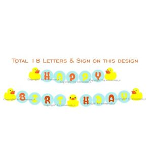 """Personalised Banner Bunting Cardbard up to 16 Letter or Rubber Duck 4"""" High Name"""