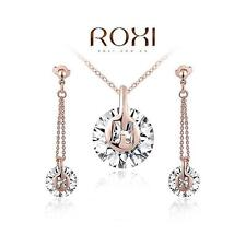 Noble 18K Rose Gold Plated AAA Zircon Pendant Necklace Earrings Set