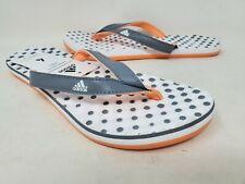 NEW! Adidas Girls Eezay Dots Flip Flops White/Grey/Orange Sz4  #J230 D6A rr