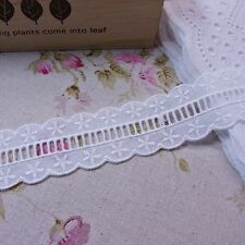 Broderie Anglaise Cotton Eyelet Lace Trim Rose Floral 3cm Wide White  5yds