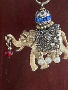 "Vintage Napier Charm Elephant Bejeweled Rhinestones Pearls Gold Tone 3-D 7"""