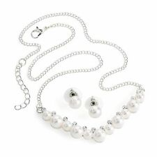 Ladies Silver Coloured Pearl Necklace and Earring Set