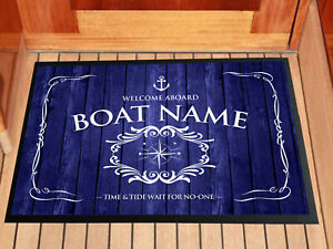 Personalised Boat - Canal Barge - Entrance mat, in door Blue Anchor 60 x 40 cm