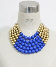 Adjustable 5 Layer Blue and Gold Pearl Necklace with Earrings