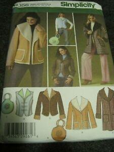SIMPLICITY 4356 MISSES' COAT JACKET VEST BAG Sewing Pattern 6 - 14 2005 UNCUT