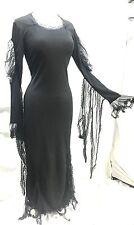 Raven Halloween Abito Gotico nelle pompe funebri puntata Net frange sulle maniche Taglia M/12