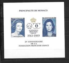MONACO BLOC FEUILLET BF N° 48A NON DENTELÉ SIGNE SCHELLER FONDATION PRINCESSE