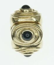 NEW 14K Yellow Gold ALE Pandora Charm Bracelet Bead Clip Onyx Cabochon