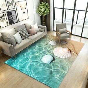 Beach Sea Waves Living Room Rug Landscape Printed Floor Mat Flannel Bathroom Rug