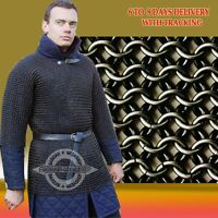Butted Chainmail Shirt Black Chain Mail Hauberk Medium Large a12