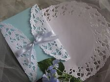 "25 Pcs 8"" Inch White Paper Elegant Wedding Scroll Lace Doilies Round Invite"