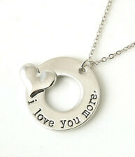 """""""I Love You More"""" 3D Heart Stamped Charm Necklace Silver"""