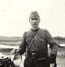 WWII Photo WW2 Japanese Officer with Motorcycle China World War Two Japan / 2462