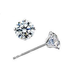 925 Silver Zircon Inlay Simple Four Claw Earrings Crystal Earrings 8MM