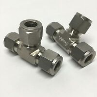 """Lot of 2 Swagelok SS-810-3 Stainless Steel Union Tee 1/2"""" OD Tube Fittings"""