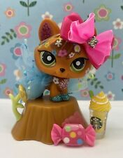 Authentic Littlest Pet Shop # 2341 Orange Glitter Fox Flowers Green Dot Eyes