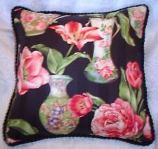 French Country Cottage Garden Pillow Black Green Pink Multi Ivory Floral