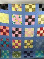 """Vintage Multi-Colored Cotton Blend Patchwork Quilt 80"""" x 60"""""""