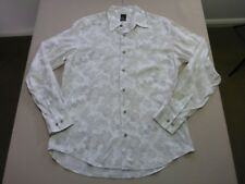 078 MENS NWOT YD. WHITE / GREY FADE PATTERNED L/S SHIRT SZE LRG $100 RRP.